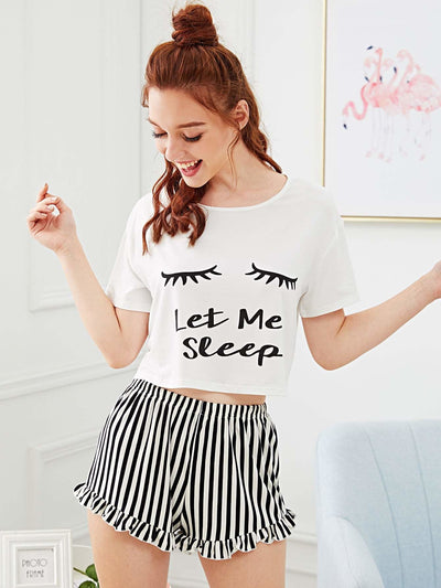 Graphic Tee & Frilled Striped Shorts Pj Set - Nightwears
