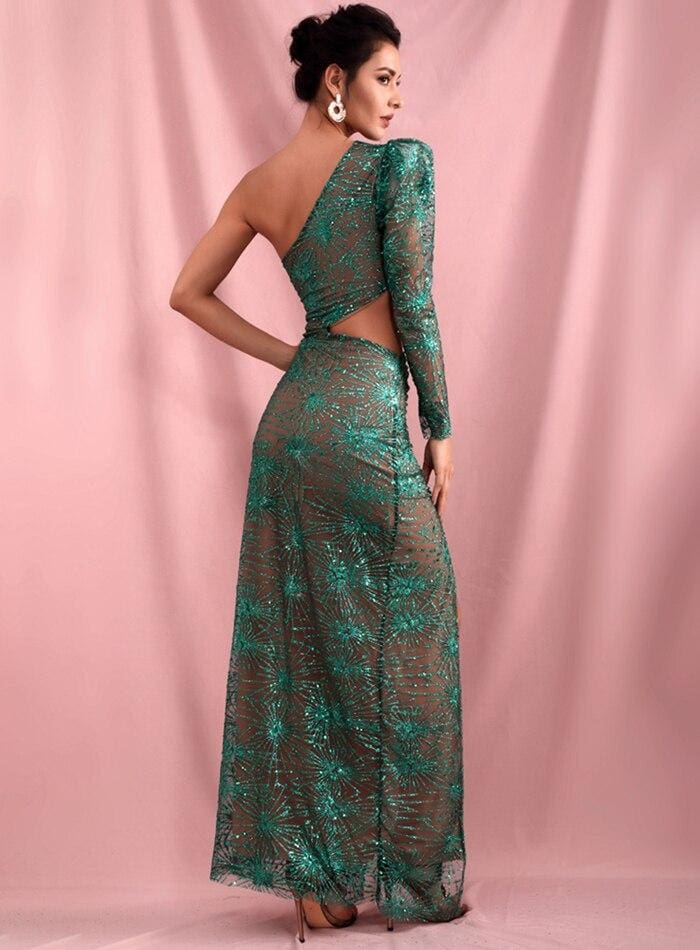 Green Bare Shoulders Cut Out And With Split Lattice Sequin Maxi Dress