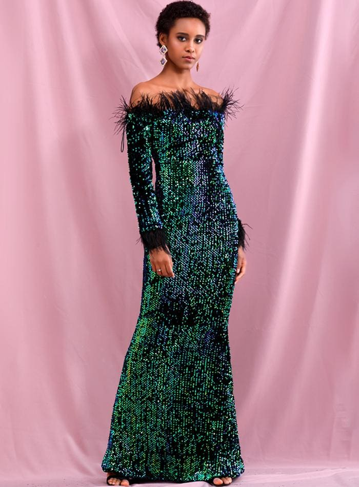 Green Collar Feather Decoration Velvet Sequin Prom Maxi Dress