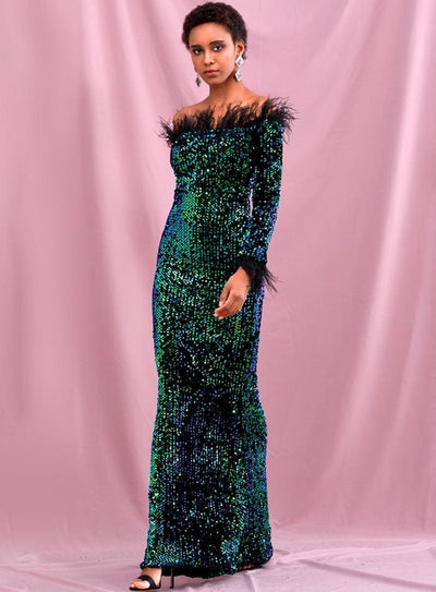 Green Collar Feather Decoration Velvet Sequin Prom Maxi Dress - Dresses