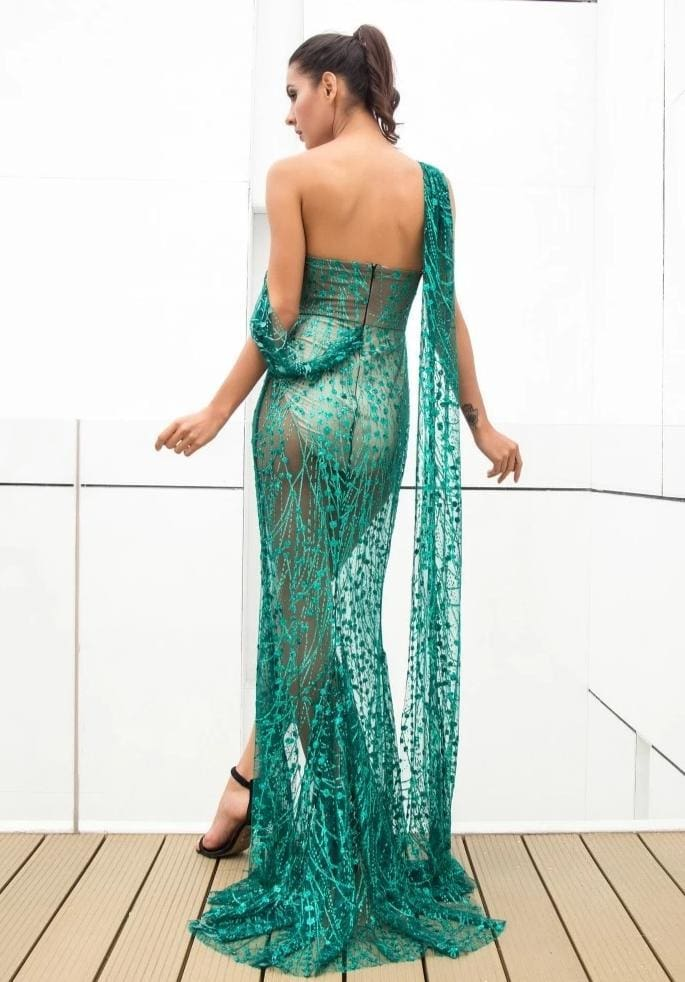 Green Cross Cut Out Straps Glitter Glued Sequin Prom Maxi Dress