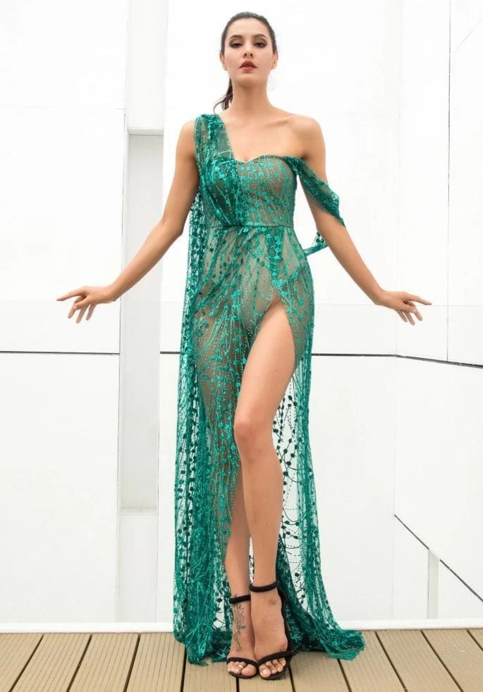 Green Cross Cut Out Straps Glitter Glued Sequin Prom Maxi Dress - GREEN / XS - Dresses