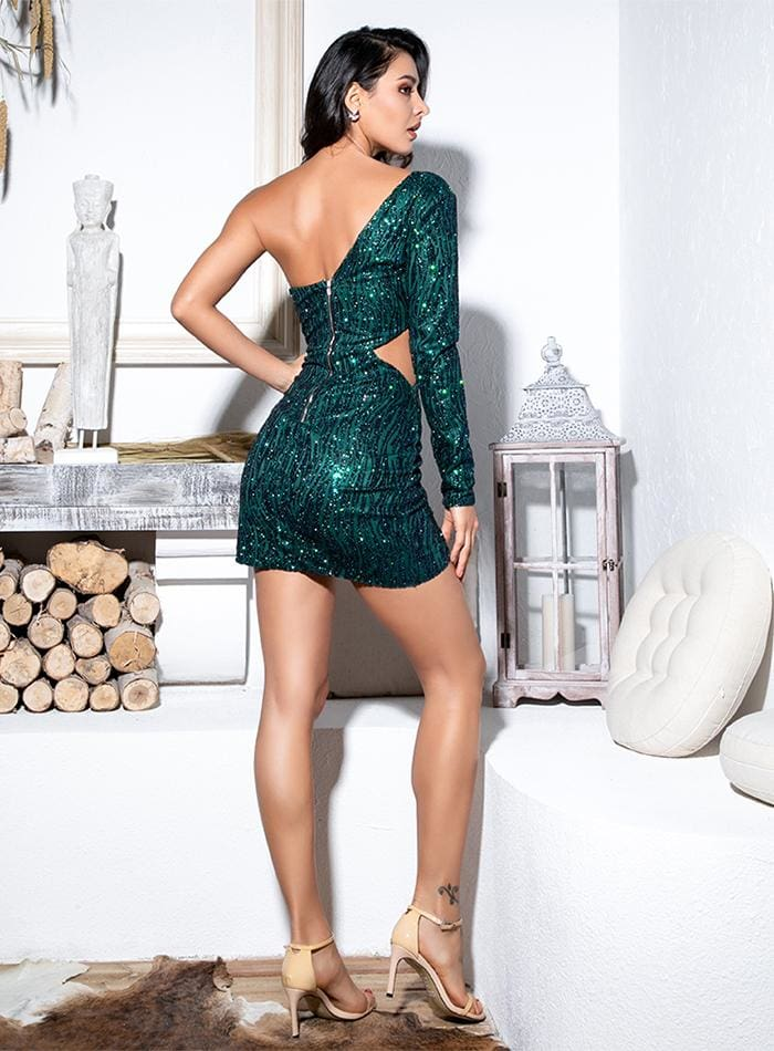 Green Cut Out Single Sleeve Sequin Bodycon Party Mini Dress - GREEN / XS - Dresses
