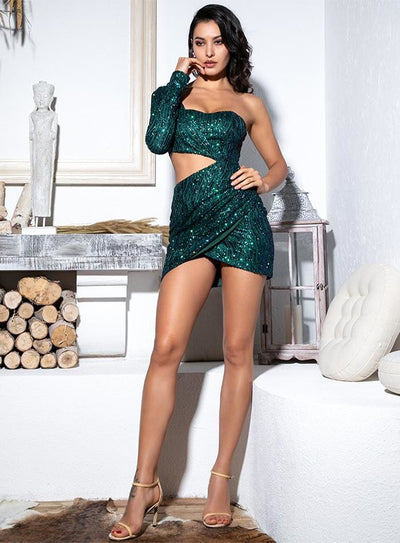 Green Cut Out Single Sleeve Sequin Bodycon Party Mini Dress - Dresses
