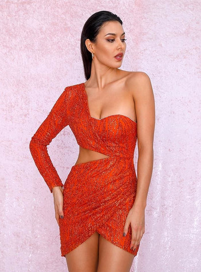 Green Cut Out Single Sleeve Sequin Bodycon Party Mini Dress - ORANGE / S - Dresses
