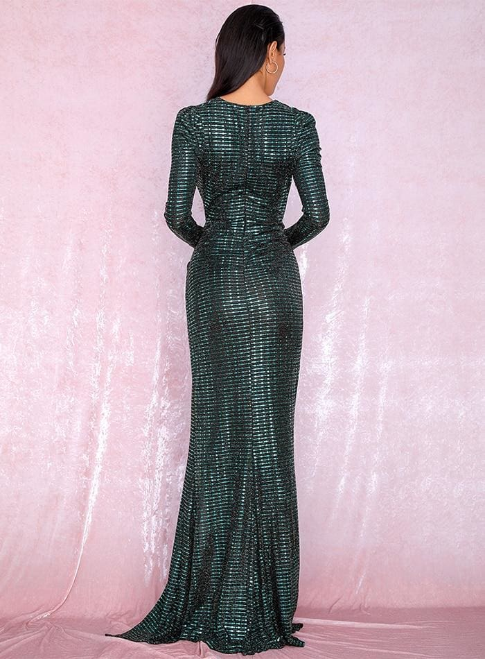 Green Deep V-Neck Cut Out Puff Sleeves Sequin Maxi Dress