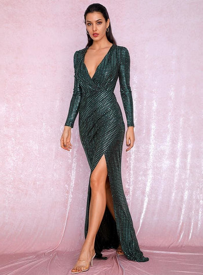 Green Deep V-Neck Cut Out Puff Sleeves Sequin Maxi Dress - Dresses