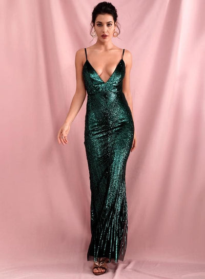 Green Deep V-Neck Geometric Sequins Open Back Prom Maxi Dress - Dresses