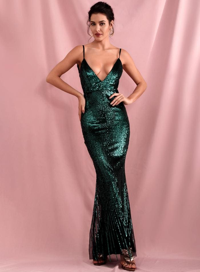Green Deep V-Neck Geometric Sequins Open Back Prom Maxi Dress