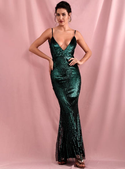Green Deep V-Neck Geometric Sequins Open Back Prom Maxi Dress - GREEN / S - Dresses