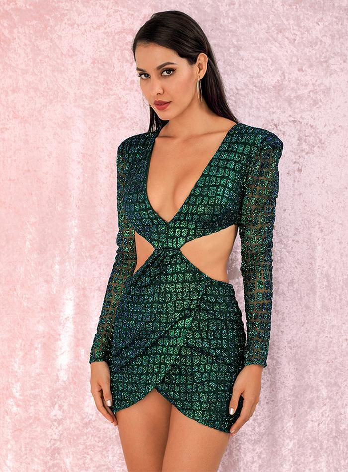 Green Deep V-neck Open Back Sequin Party Mini Dress