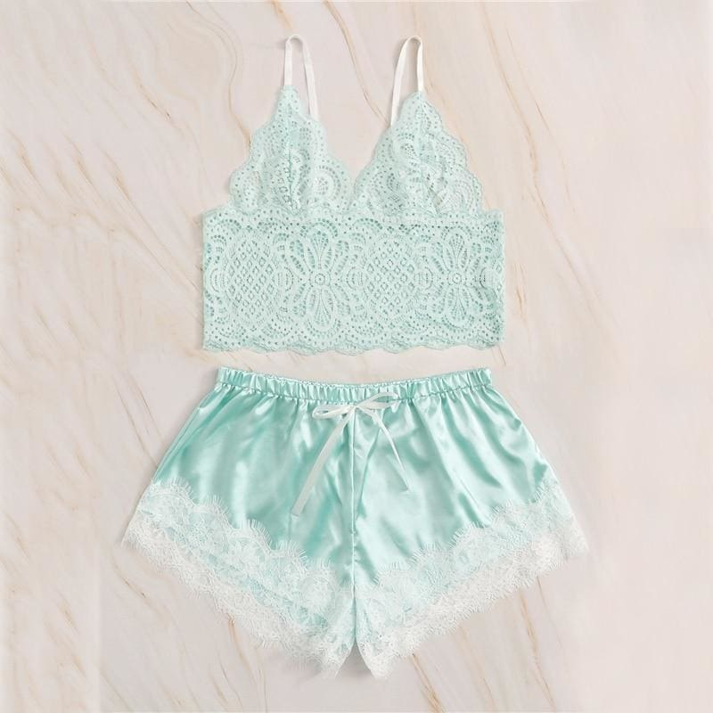 Green Floral Lace Bralette With Satin Shorts
