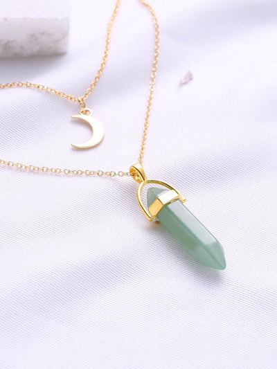 Green Pendant Double Layered Necklace - Necklaces
