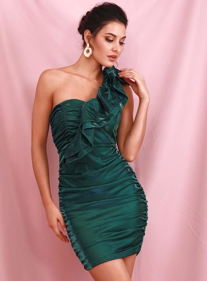 Green Slant Shoulder Ruffled Pleated Reflective Party Mini Dress