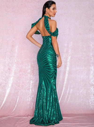 Green Stand Collar Open Back Sequin Prom Maxi Dress - Dresses