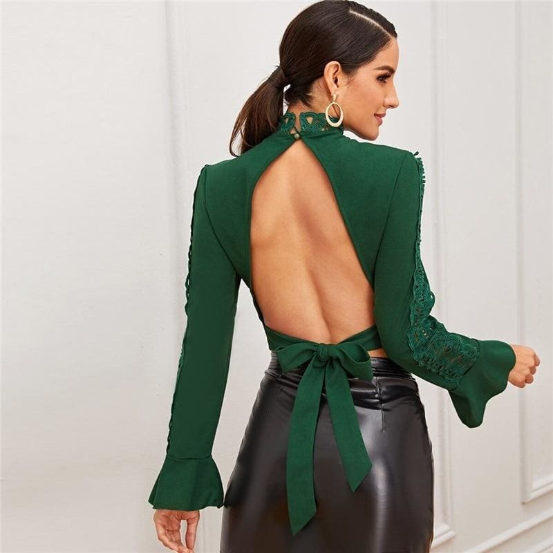 Green Tie Back Backless Lace Trim Top