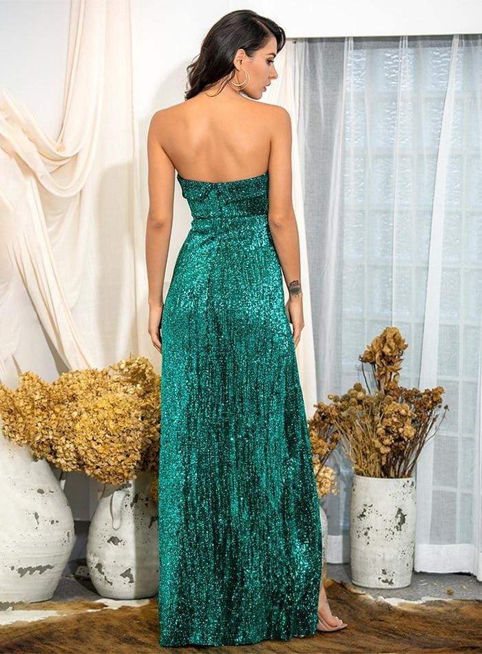 Green Tube Top Ruffle Split Sequins Party Maxi Dress