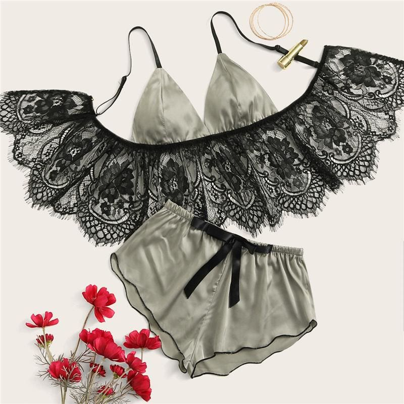 Grey Eyelash Floral Lace Satin Lingerie Set - Gray / L - Nightwears