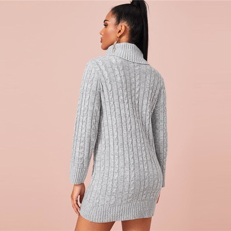 Grey Turtleneck Cable Knit Sweater Mini Dress