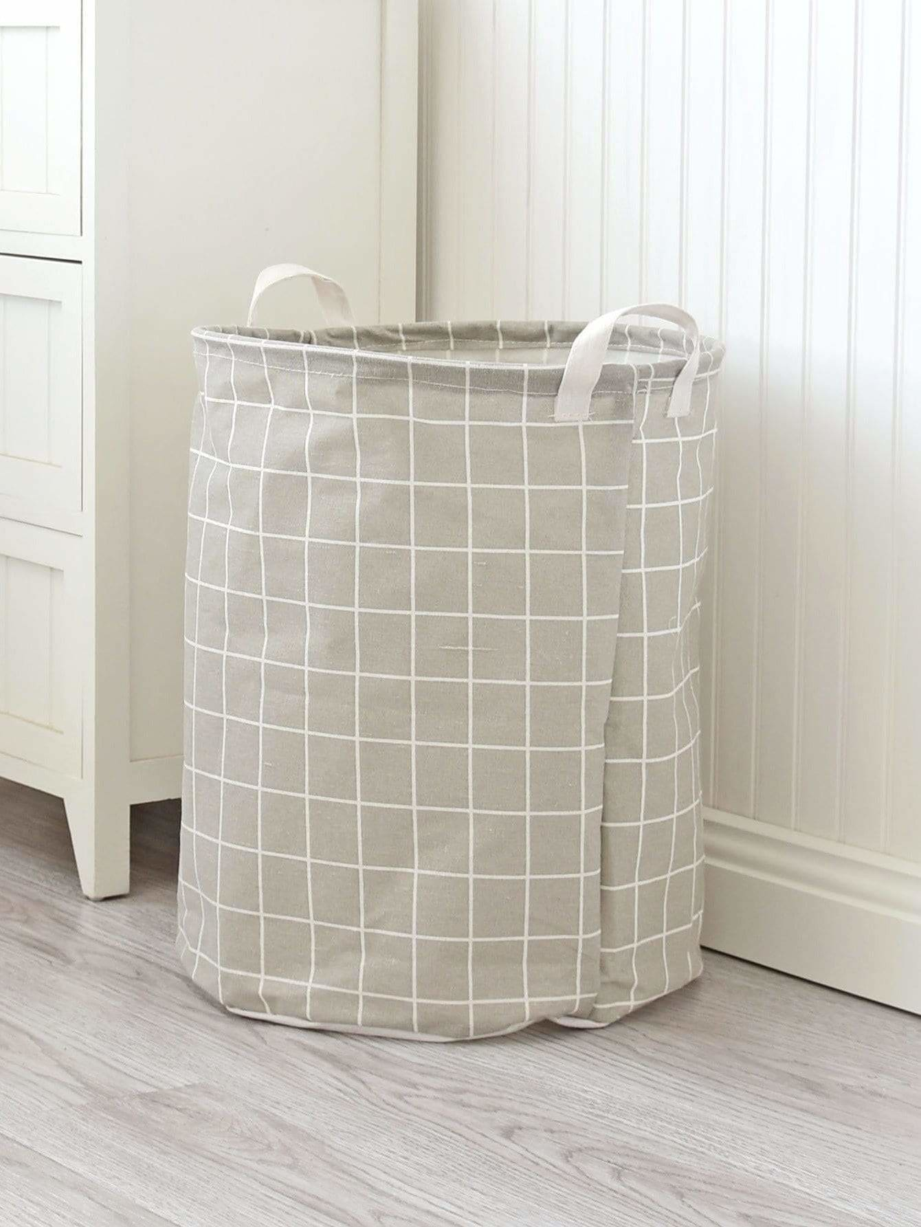 Grid Print Round Storage Basket - Storage & Organization