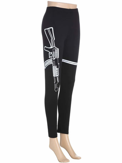 Gun & Striped Print Leggings - Fittness Leggings