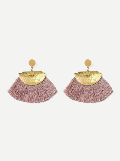Half Round Tassel Drop Earrings - Earrings