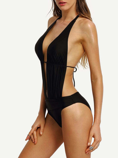 Halter Cutout Plunge Neck Monokini - One Piece Swimwear