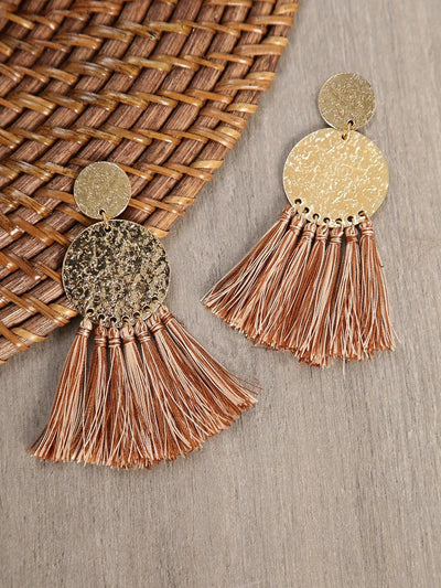 Hammered Earrings With Tassel Accent - Earrings