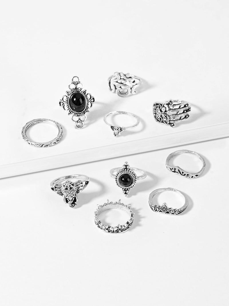 Hand & Gemstone Ring Set 10pcs