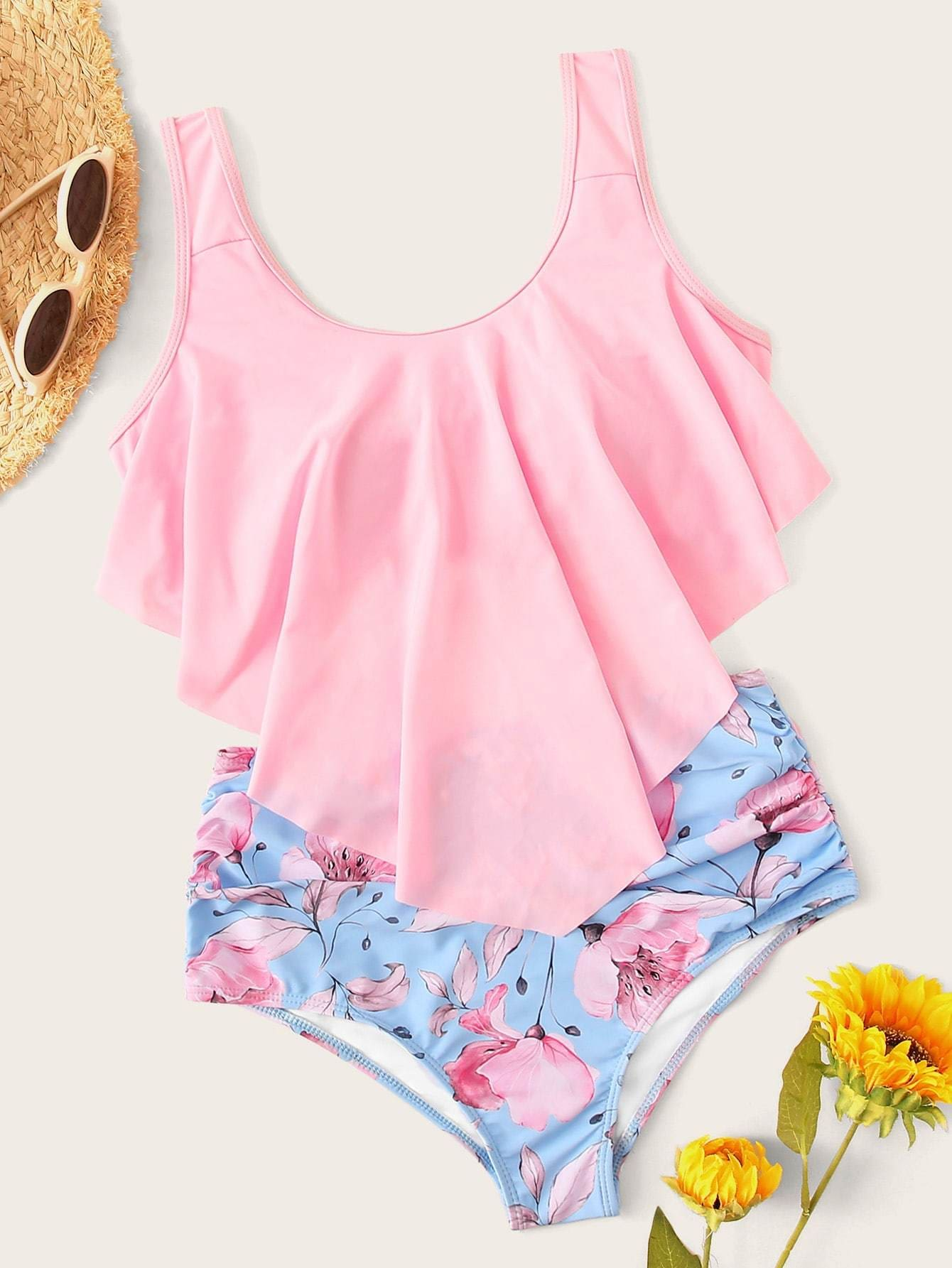 Hanky Hem Top With Floral Bikini Set - S - High Waist Swimwear