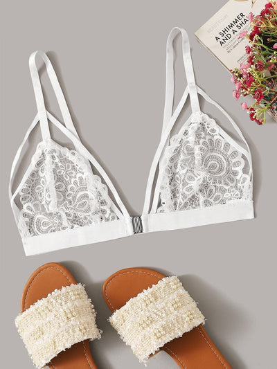 Harness Lace Bralette - S / White - Lingerie