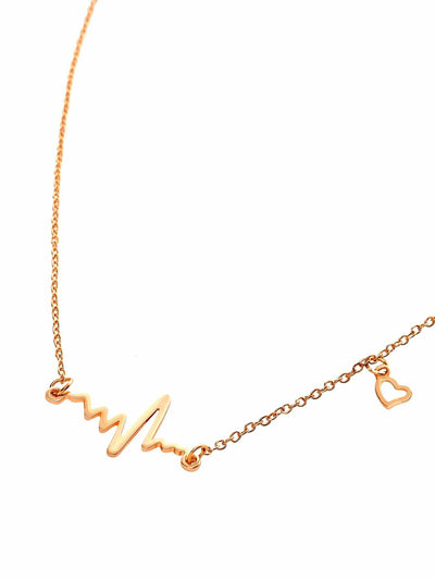 Heart Electrocardiogram Shaped Chain Necklace - Necklaces
