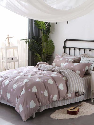 Heart & Striped Print Sheet Set - Bedding Sets