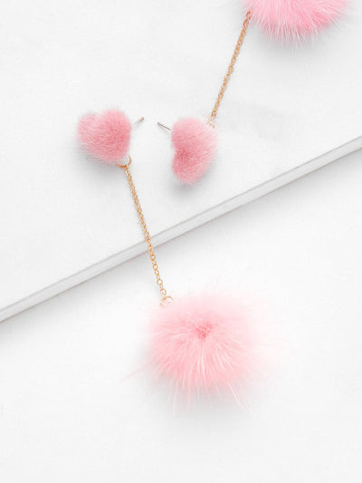 Heart Top Chain Pom Pom Drop Earrings - Earrings