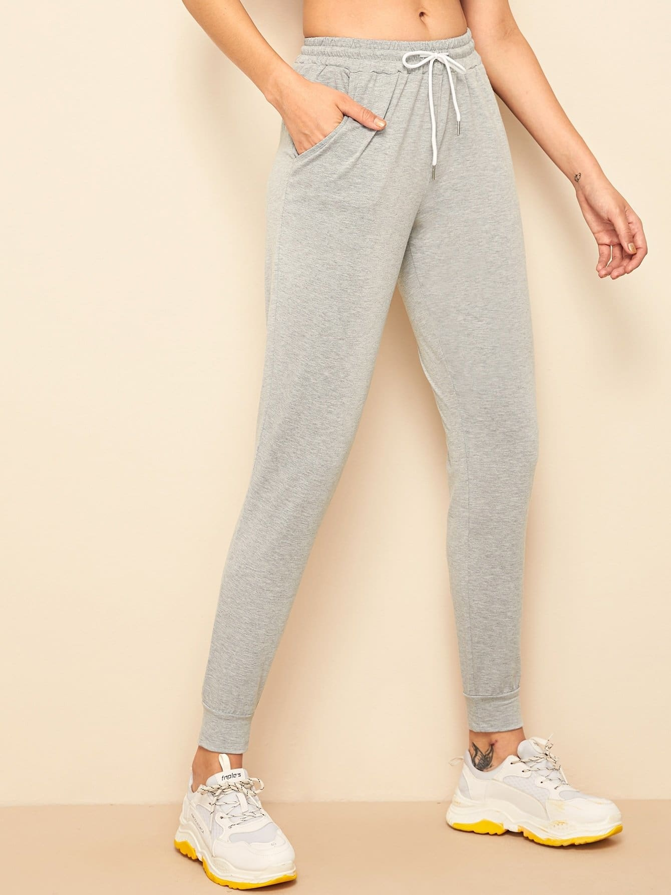 Heather Grey Pocket Side Sweatpants - S - Fittness Leggings