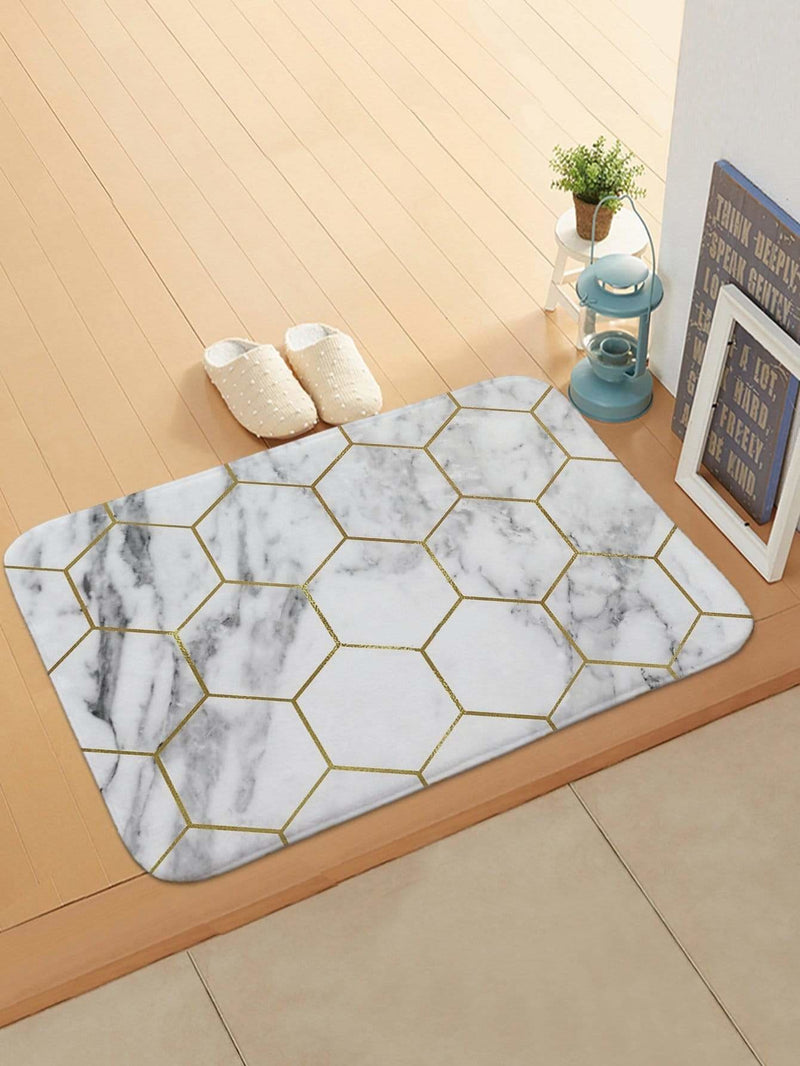 Hexagon & Marble Pattern Doormat - One-Size / Black And White - Rugs & Mats