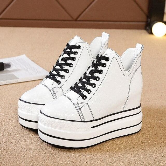 Hidden Heels Lace Up Chunky Platform Sneakers