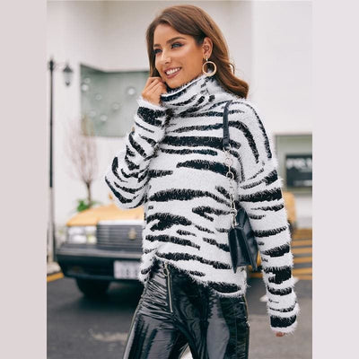 High Neck Fluffy Knit Zebra Pattern Sweater - Hoodies & Sweatshirts