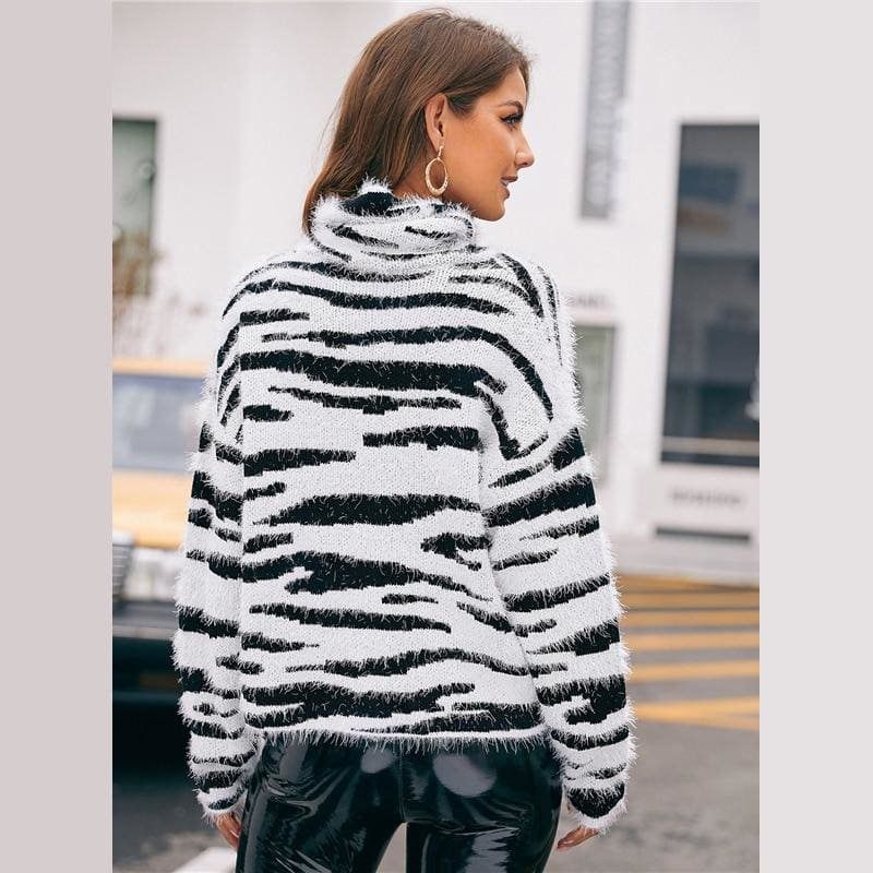 High Neck Fluffy Knit Zebra Pattern Sweater - Multi / S - Hoodies & Sweatshirts