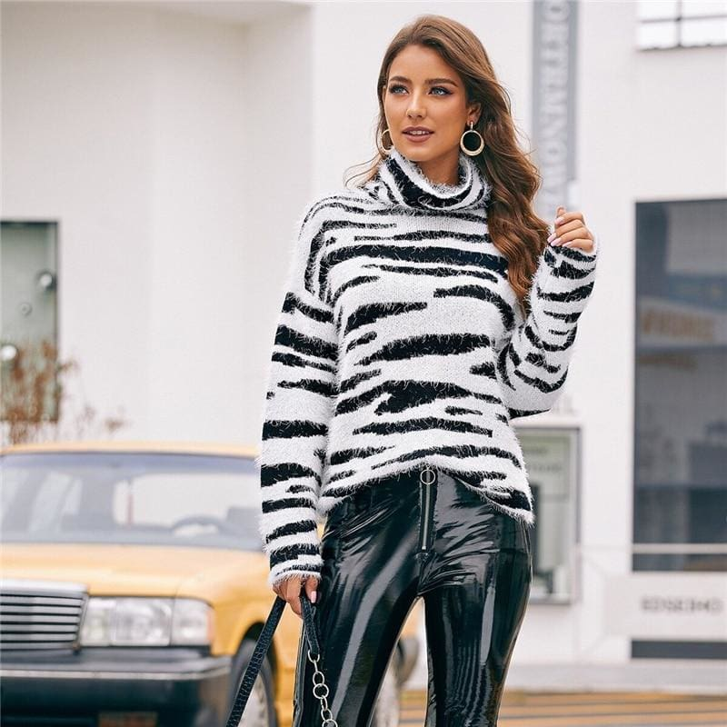 High Neck Fluffy Knit Zebra Pattern Sweater