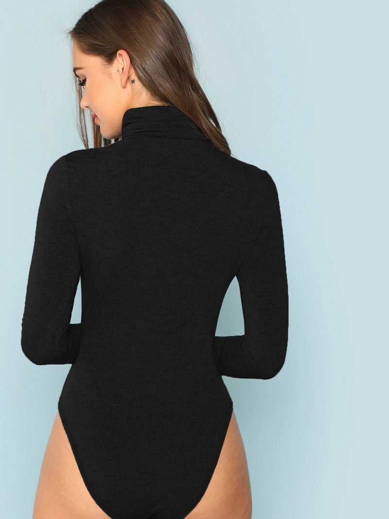 High Neck Heather Knit Bodysuit - Bodysuits