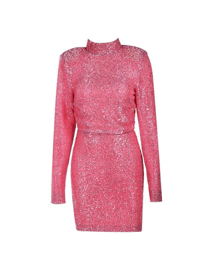 High-Necked Shoulder Pads Sequin Backless Party Dress - Dresses