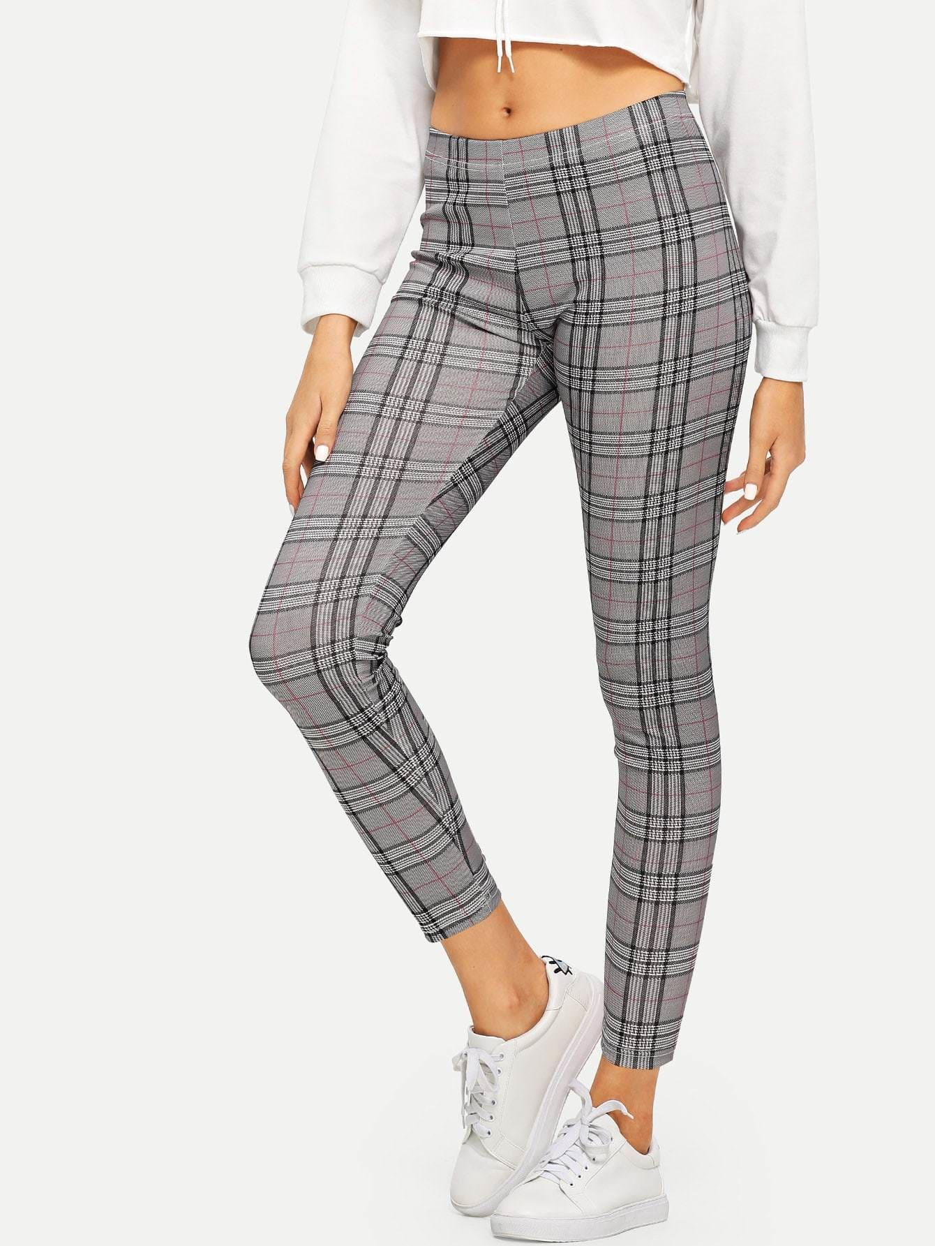 High Rise Plaid Leggings - Leggings