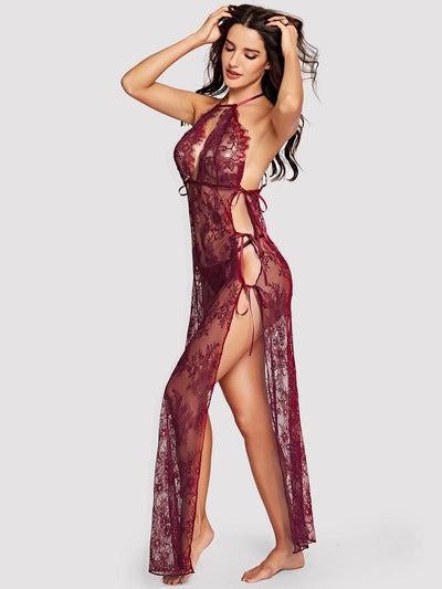High Split Floral Lace Nightdress With Thong - Nightwears