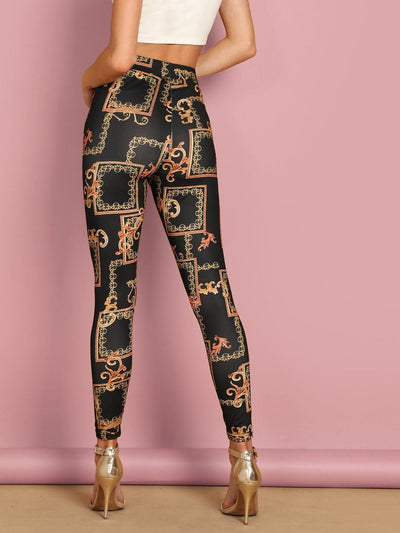 High Waist Chain Print Leggings - Leggings