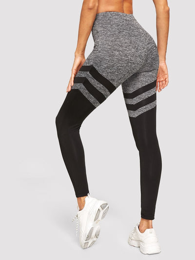 High Waist Color-Block Leggings - Fittness Leggings