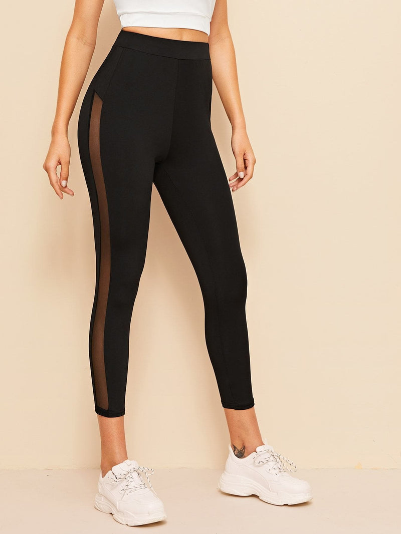 High Waist Mesh Insert Leggings - S - Fittness Leggings