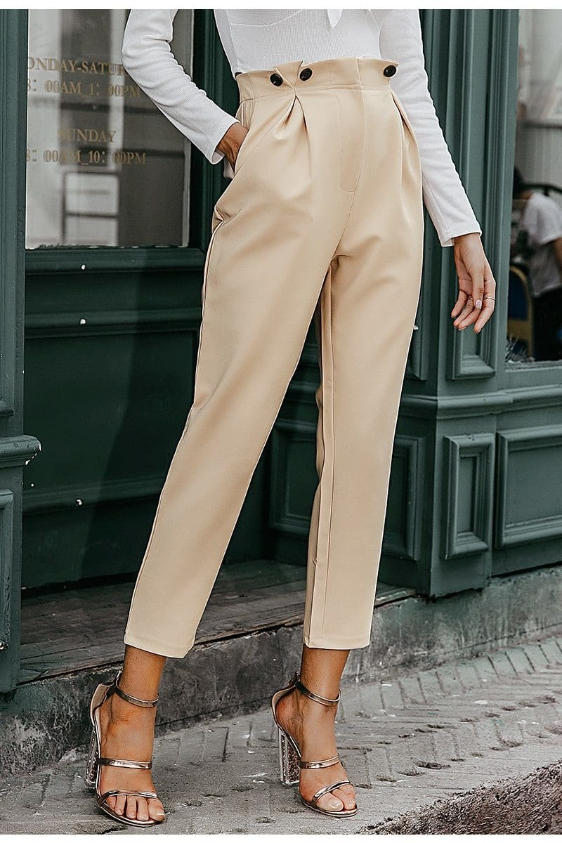High Waist Office Loose Ankle-length Trousers - Apricot / S - Jeans & Pants