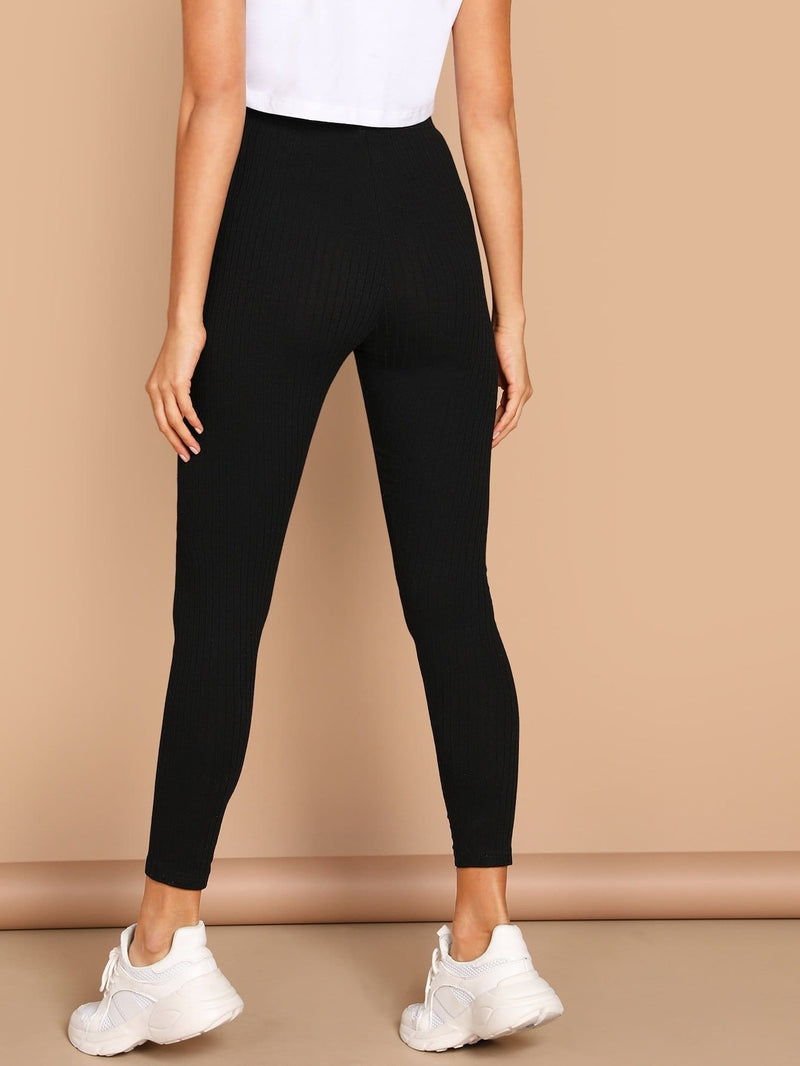 High Waist Solid Leggings - Fittness Leggings