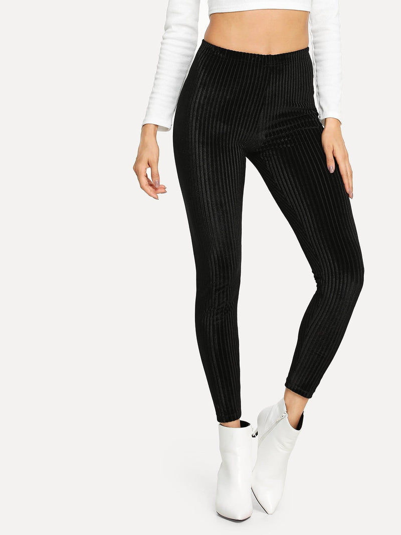 High Waist Solid Velvet Leggings